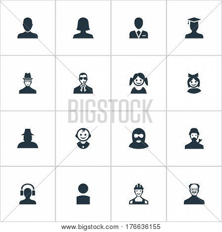 Vector Illustration Set Of Simple Human Icons. Elements Woman User, Insider, Felon And Other Synonyms Offender, Girl And Agent.