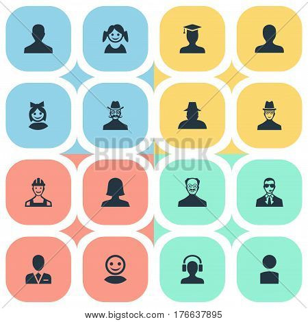 Vector Illustration Set Of Simple Member Icons. Elements Postgraduate, Male With Headphone, Internet Profile And Other Synonyms Student, Profile And Female.