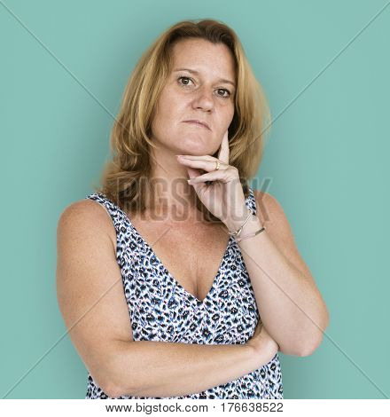 Adult woman casual thoughtful hand gesture portrait
