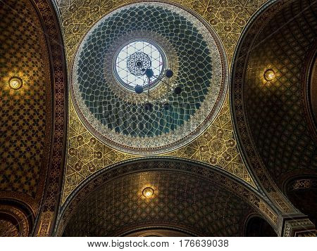 PRAGUE, CZECH REPUBLIC - MARCH 6 2017: Ornamental canopy inside Spanish Synagogue. It was named so for its impressive Moorish interior design. It is the most recent synagogue in Prague Jewish Town