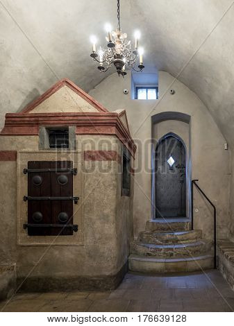 PRAGUE, CZECH REPUBLIC - MARCH 6 2017: The Old-New Synagogue in Prague, Czech Republic