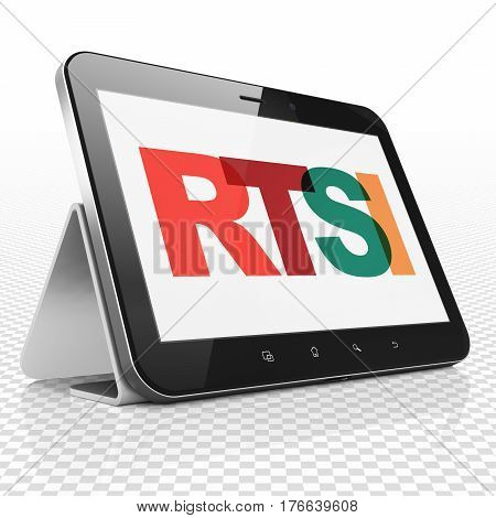 Stock market indexes concept: Tablet Computer with Painted multicolor text RTSI on display, 3D rendering