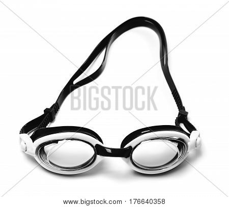 Black and white goggles for swimming isolated on white background