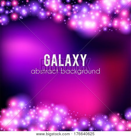 Galaxy abstract background with sparkling pink and purple, glitter and rays lights, copyspace for elegant Valentines day card