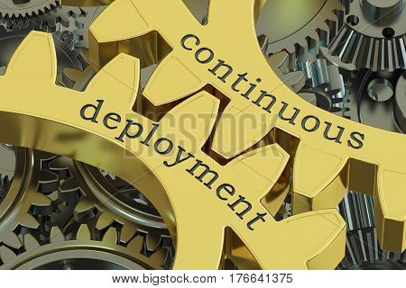 continuous deployment concept on the gears 3D rendering