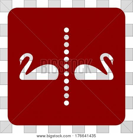 Separate Swans interface icon. Vector pictograph style is a flat symbol hole on a rounded square shape, dark red color.