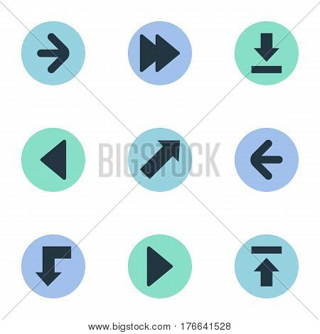 Vector Illustration Set Of Simple Indicator Icons. Elements Right Landmark, Advanced, Let Down Synonyms Down, Decline And Reduction.