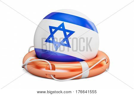 Lifebelt with Israel flag safe help and protect concept. 3D rendering