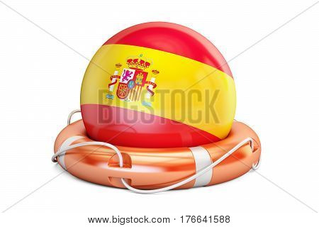 Lifebelt with Spain flag safe help and protect concept. 3D rendering