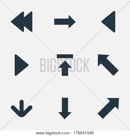 Vector Illustration Set Of Simple Cursor Icons. Elements Right Direction , Downwards Pointing, Left Landmark Synonyms Left, Down And Pointing.