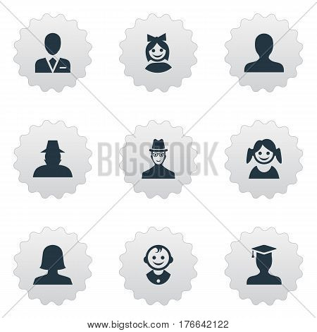 Vector Illustration Set Of Simple Human Icons. Elements Spy, Workman, Portrait And Other Synonyms Student, Postgraduate And Spy.