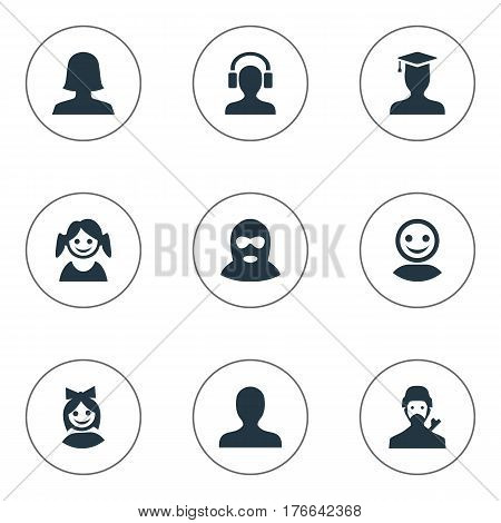 Vector Illustration Set Of Simple Avatar Icons. Elements Felon, Internet Profile, Girl Face And Other Synonyms Headphone, Web And Face.
