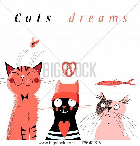 Graphic of cute dream cats on white background