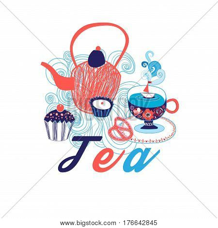 Vector picture with a teapot and tea on a white background