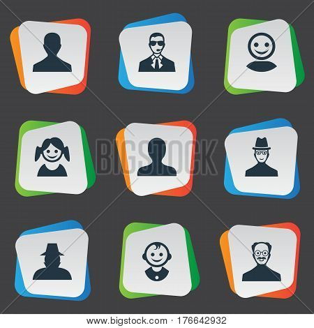 Vector Illustration Set Of Simple Member Icons. Elements Whiskers Man, Bodyguard, Agent And Other Synonyms Mustaches, Agent And Young.