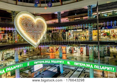 Saint-Petersburg.Russia.25 Feb 2017.The interior and storefront of the shopping center