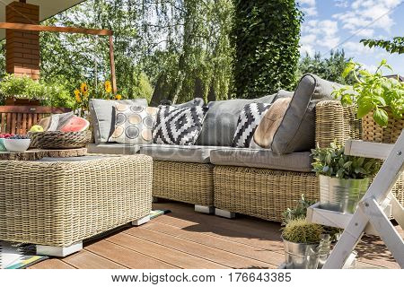 Modern Garden Patio With Rattan Sofa