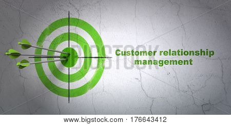 Success marketing concept: arrows hitting the center of target, Green Customer Relationship Management on wall background, 3D rendering