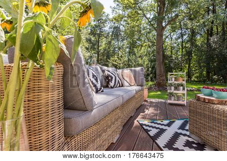 Stylish Patio With Rattan Furniture