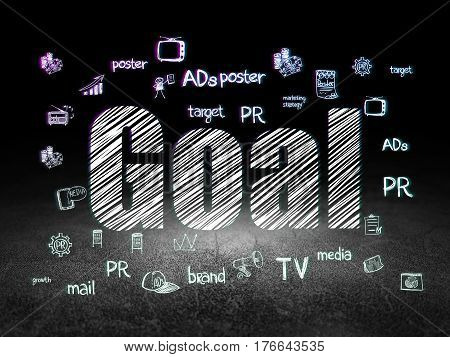 Marketing concept: Glowing text Goal,  Hand Drawn Marketing Icons in grunge dark room with Dirty Floor, black background