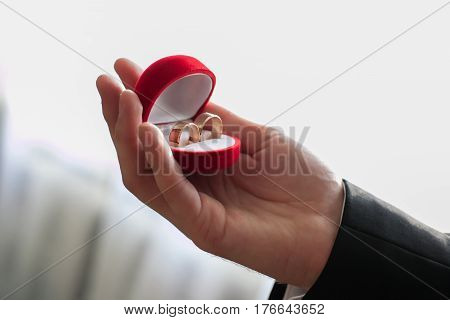wedding rings in the Red case hand