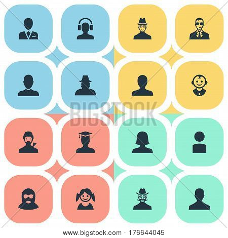 Vector Illustration Set Of Simple Human Icons. Elements Male With Headphone, Male User, Mysterious Man And Other Synonyms Young, Mustache And Worker.