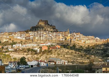 Morella is a town and municipality in Spain in the province of Castellon in the Autonomous community of Valencia (Autonomous community). The municipality is a part of the district (Comarca) Los Puertos. November 2007.