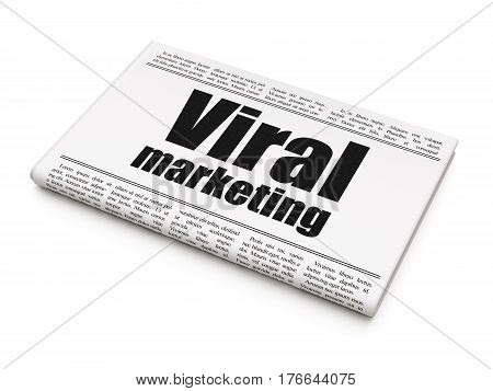 Advertising concept: newspaper headline Viral Marketing on White background, 3D rendering