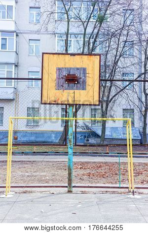 Old Sports Ground In The Yard. Basketball Ring. Gates For Football