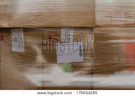 Uzhhorod Ukraine - March 16 2017: Boxes with vaccines against measles entered the Transcarpathian region in the framework of humanitarian aid from Hungary.
