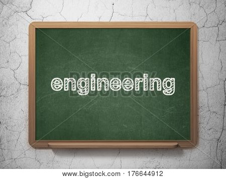 Science concept: text Engineering on Green chalkboard on grunge wall background, 3D rendering