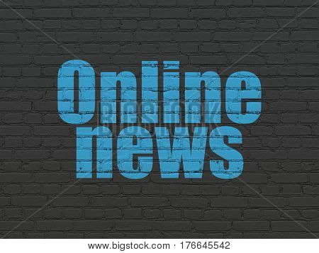 News concept: Painted blue text Online News on Black Brick wall background