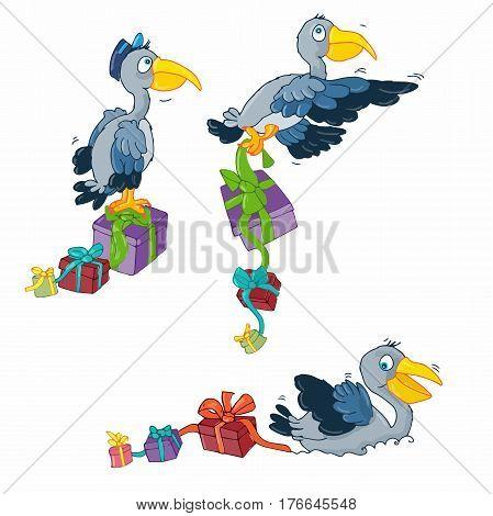 Pelican carrying gifts bird traveler mascotte ,