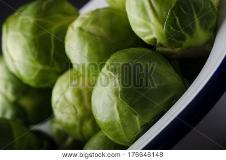 Close up of leafy green brussel sprouts in white enamel baking pan with navy blue stripe.