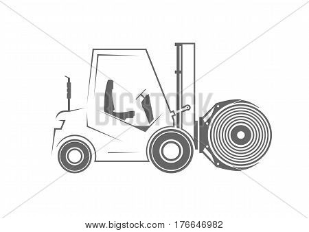 Forklift with paper roll clamp. Vector illustration