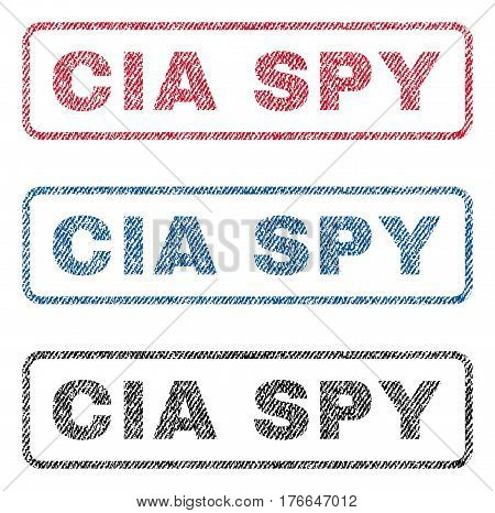 CIA Spy text textile seal stamp watermarks. Blue, red, black fabric vectorized texture. Vector tag inside rounded rectangular banner. Rubber emblem with fiber textile structure.