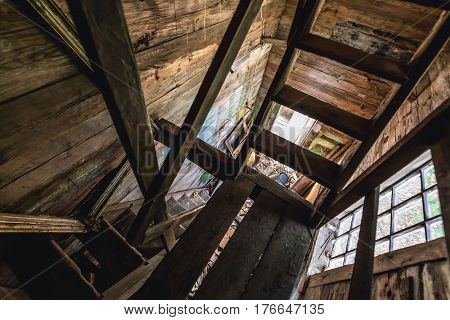 Bell tower stairs in Orthodox church in Krasne deserted village of Chernobyl Exclusion Zone Ukraine