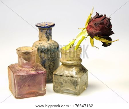 Odl styled dirty glass bottles with dry rose flower