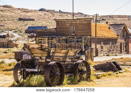Vintage Wagon With Large Iron Wheels In California Ghost Town