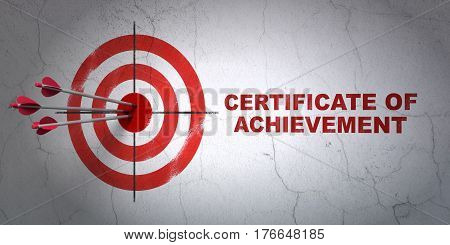 Success Studying concept: arrows hitting the center of target, Red Certificate of Achievement on wall background, 3D rendering