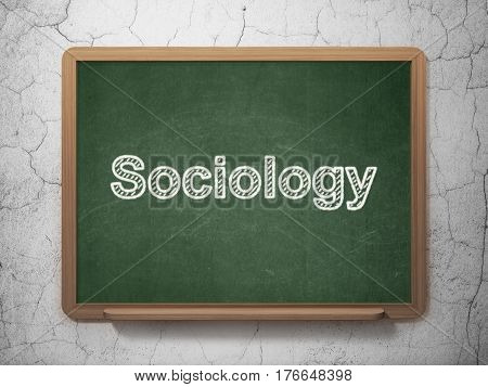 Studying concept: text Sociology on Green chalkboard on grunge wall background, 3D rendering