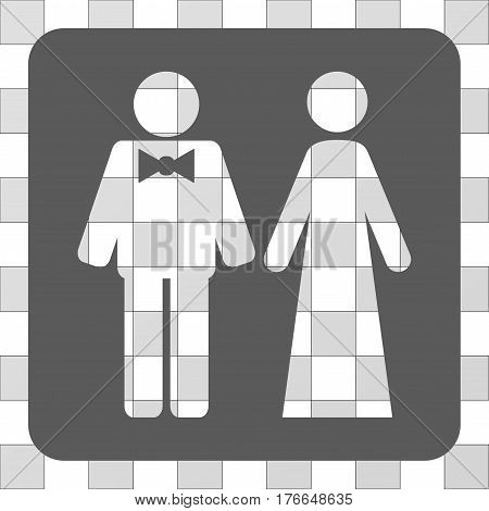 Just Married Persons square icon. Vector pictogram style is a flat symbol hole in a rounded square shape, grey color.