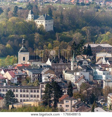 Turnov city and Hruby Rohozec castle. Czech Republic