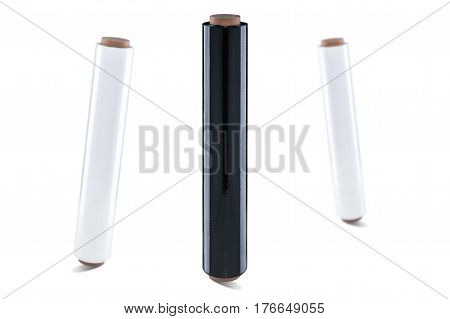 Black and white stretch film at white background isolated