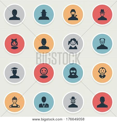 Vector Illustration Set Of Simple Human Icons. Elements Felon, Moustache Man, Agent And Other Synonyms Internet, Workman And Male.