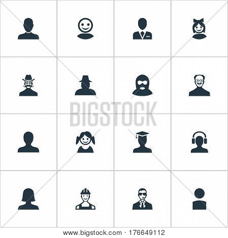 Vector Illustration Set Of Simple Avatar Icons. Elements Whiskers Man, Insider, Male With Headphone And Other Synonyms Member, Agent And Graduate.