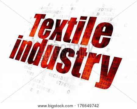 Manufacuring concept: Pixelated red text Textile Industry on Digital background