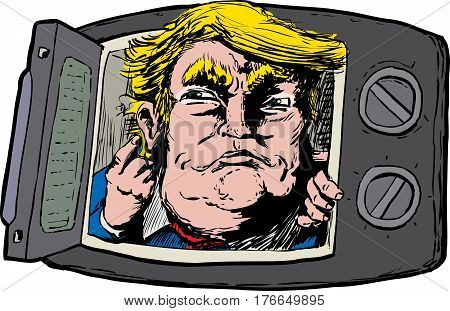 March 16 2017. Caricature of smirking Donald Trump looking out from a microwave oven