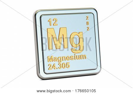 Magnesium Mg chemical element sign. 3D rendering isolated on white background