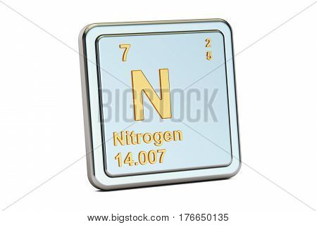 Nitrogen N chemical element sign. 3D rendering isolated on white background